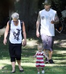 Pink and her husband Carey Hart take their daughter Willow out for lunch at the Les 400 Coups Restaurant before spending the rest of the day walking through the Luxembourg Gardens in Paris, France on September 9, 2012.