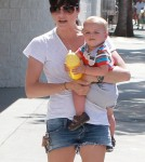 'Anger Management' actress Selma Blair and her son Arthur Bleick enjoying a day out at the Farmers Market with a friend in Ventura, California on September 9, 2012.