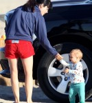 Selma Blair and son Arthur Bleick enjoyed a walk and beach in Santa Monica, CA on September 1st, 2012.