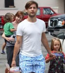 Tobey Maguire and his family stopped by the market in Malibu, California on September 3, 2012. His daughter Ruby held his hand as they walked in front of the nanny and son Otis.