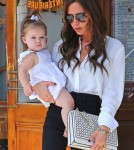 Victoria Beckham having lunch with her daughter Harper at Pastis in New York City, NY on September 11th, 2012
