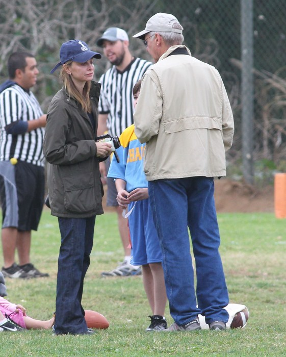 calista Flockhart and her husband Harrison Ford out watching their son Liam's flag football game in Brentwood, California on October 20, 2012.