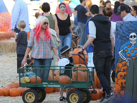 The Voice's Christina Aguilera Takes Son Max To Mr. Bones Pumpkin Patch