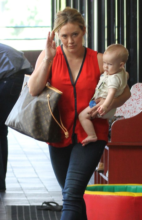 Hilary Duff takes her baby boy Luca to Babies First Class in Sherman Oaks, CA on October 3rd, 2012.