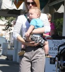 'Madmen' actress January Jones picks up her baby boy Xander from day care in Los Feliz, CA on October 2, 2012.