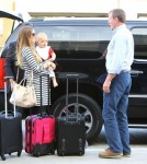 Semi-Exclusive... Engaged Guy Ritchie And Family Departing On A Flight At LAX