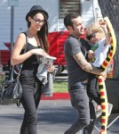 Pete Wentz and his girlfriend Meagan Camper take his son Bronx out for lunch at Sweet Butter in Sherman Oaks, California on October 4, 2012.