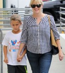 Reese Witherspoon took her son, Deacon Phillippe, shopping at the GAP and grabbed Jamba Juice in Santa Monica, California on October 19, 2012.