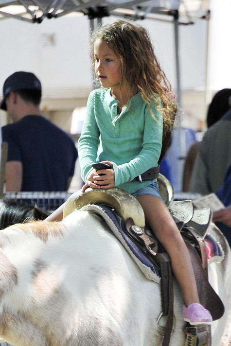 Halle Berry's Daughter Nahla Aubry Rides a Horse at the Farmers Market