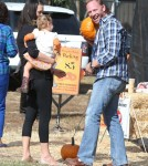 Ian Ziering and his wife Erin take their daughter Mia to the Mr. Bones Pumpkin Patch in West Hollywood, California on October 6, 2012.