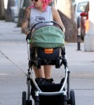 Sheila Hafsadi, girlfriend to 'Twilight' actor Jackson Rathbone, out and about with their son Monroe in Studio City, CA on October 17th, 2012.