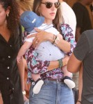 Alessandra Ambrosio and her fiance Jamie Mazur take their children Anja and Noah to the Mr. Bones Pumpkin Patch in West Hollywood, California on October 14, 2012.