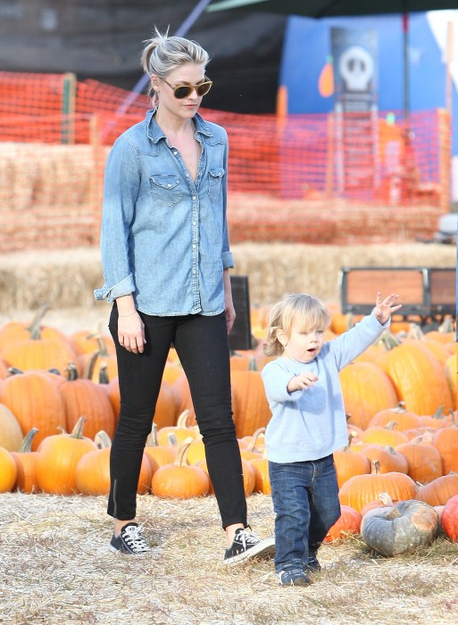 Ali Larter and her husband Hayes Macarthur take their son Theodore to the Mr. Bones pumpkin patch in West Hollywood, CA on October 18, 2012.