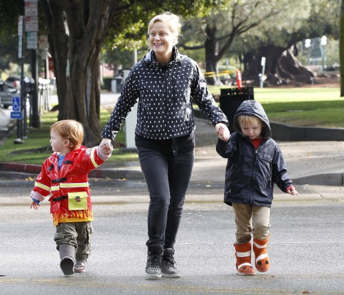 Amy Poehler Spends A Rainy Day With Her Boys