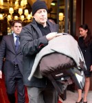 Bruce Willis, his wife Emma Heming and their daughter Mabel Ray leave the Royal Monceau hotel in Paris, France on October 17, 2012.