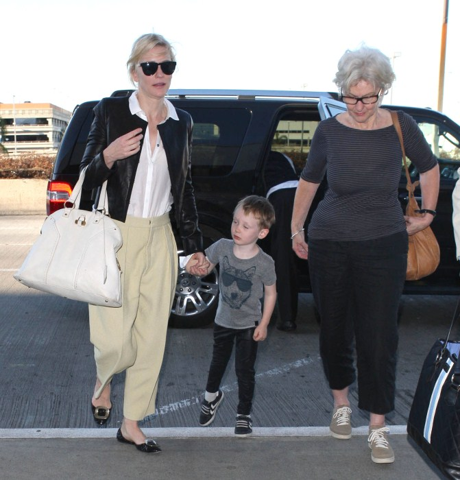 Cate Blanchett, her mother June and her son Ignatius departing on a flight at LAX airport in Los Angeles, California on October 16, 2012.