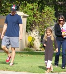 r Christian Bale and his wife Sibi Blazic take their daughter Emmaline to a birthday party in Brentwood, California on October 6, 2012.