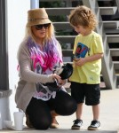 Christina Aguilera and her boyfriend Matthew Rutler take her son Max shopping at Souleiado in Brentwood, California on October 6, 2012.