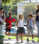 Heidi Klum and her kids all cheered for their older brother Henry as he played in his flag football game in Los Angeles, California on September 29th, 2012.