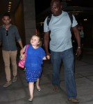 """Here Comes Honey Boo Boo' star Alana Thompson and her mom June Shannon take a walk through the Hollywood & Highland mall after appearing on """"Jimmy Kimmel Live"""" on October 15, 2012 in Hollywood, California."""