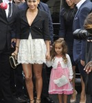 Jennifer Lopez arrives at the Chanel Fashion Show with her daughter Emme and her boyfriend Casper Smart on October 2, 2012 in Paris, France