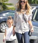 Jessica Alba takes her daughter Honor to class and then they stop by Whole Foods for groceries in Brentwood, CA on October 16th, 2012.