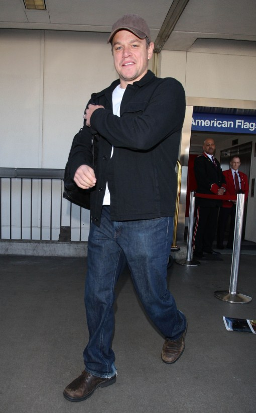 Matt Damon and his wife Luciana arriving on a flight at LAX airport in Los Angeles, CA on March 4, 2012.