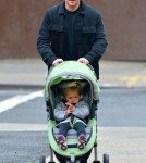 Matt Damon takes his daughter Stella for a walk on a chilly day in New York City, New York on October 9, 2012.
