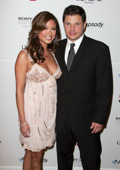 Nick Lachey & Vanessa Minillo attend the Clive Davis Pre-Grammy Party, Beverly Hilton Hotel, Beverly Hills, California