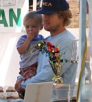 Owen Wilson went to the farmers' market with his son, Robert Wilson, and mother, Laura Wilson, in Malibu, California on October 14, 2012.