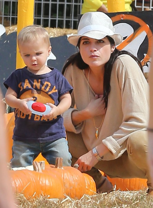 Selma Blair takes her son Arthur to the Mr. Bones Pumpkin Patch in West Hollywood, California on October 13, 2012.