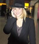 Shakira flies into Heathrow Airport to watch her boyfriend, Barcelona footballer Pique play against Chelsea on April 17, 2012 in London, UK.