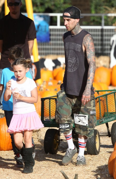 'Blink 182' drummer Travis Barker takes his kids Alabama and Landon to the Mr. Bones pumpkin patch in West Hollywood, CA on October 18, 2012.