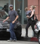 """""""American Beauty"""" star Wes Bentley and his wife Jacqui take their son Charles with them as they make a stop at Anastasia in Beverly Hills, California on October 11, 2012."""