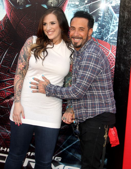A.J. Mclean & Rochelle Karidis at  The Amazing Spider-Man Premiere held at The Regency Village Theatre in Westwood , California on June 28th, 2012.