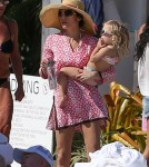 Bethenny Frankel and Daughter Bryn Splash in the Pool