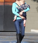 New Brunette January Jones and Son Xander Lunch in Pasadena