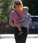 January Jones Takes Baby Xander To Lunch