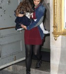 Katie Holmes And Daughter Suri Leaving The Music Box Theatre