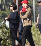 Neve Campbell Takes Caspian For A Stroll