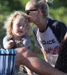 Ashlee Simpson and Son Bronx Hit the Beach