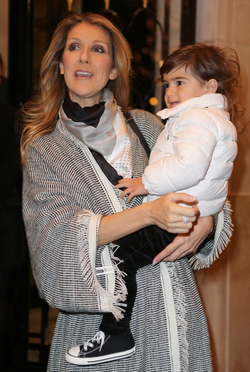 Celine Dion & Family Enjoy a Cold Parisian Day