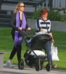 Exclusive... Elizabeth Berkley Out For A Walk With Son Sky
