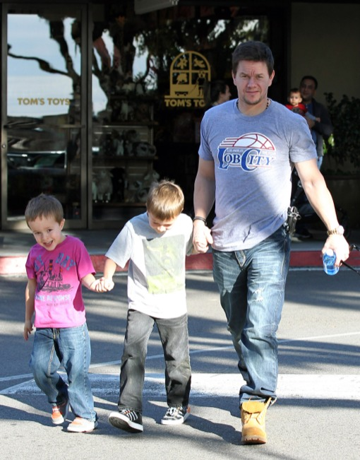 Cute Daddy Alert: Mark Wahlberg Holds Hands With His Boys