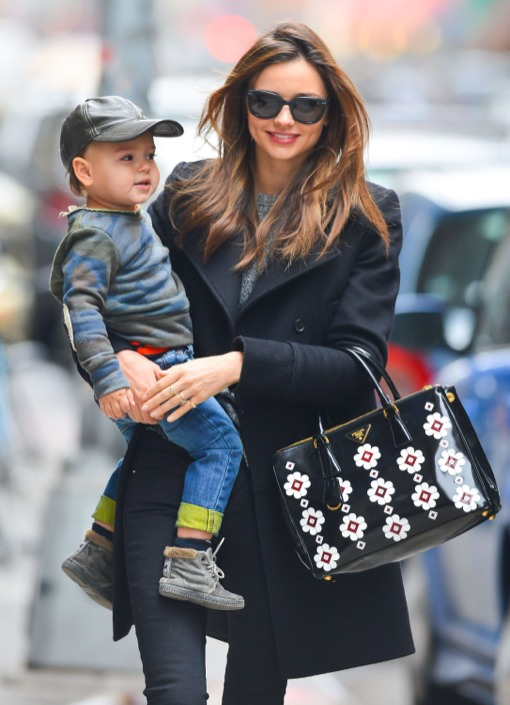 Miranda Kerr Takes An Early Morning Stroll With Flynn