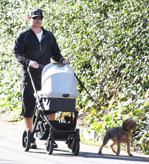 Nick Lachey Strolls With Baby Son Camden