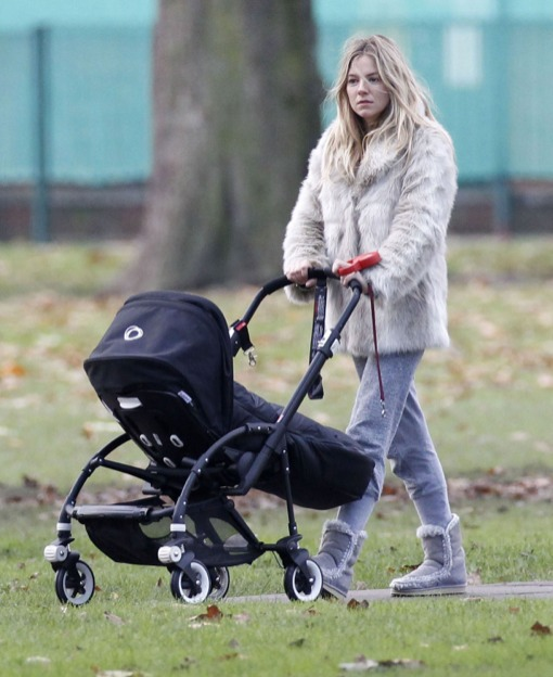 Sienna Miller's Cold Winter Day Stroll With Marlowe