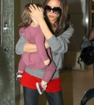 Victoria Beckham And Daughter Harper Arriving On A Flight At LAX