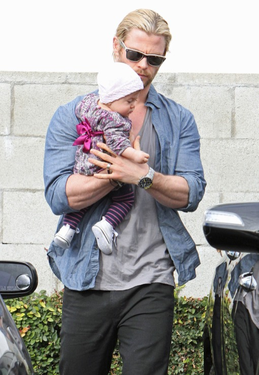 Chris Hemsworth Holds His Cutie Close