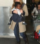 Connie Britton And Son Eyob Arriving On A Flight At LAX